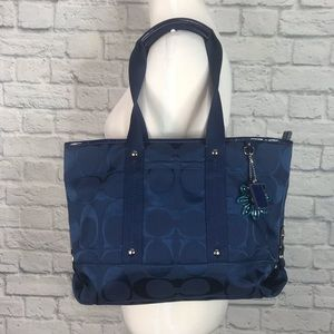 Coach Navy Blue Signature Logo Tote F18844